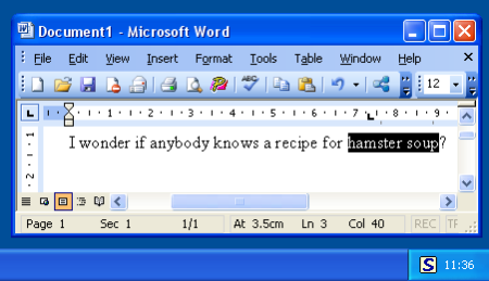 Select text in Word